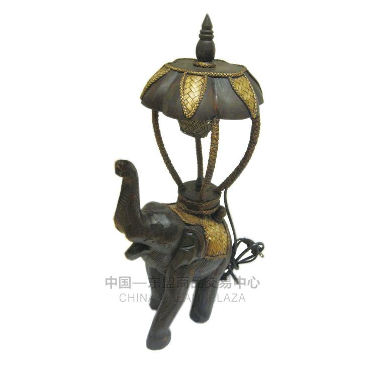 【泰国进口】柚木雕刻小象台灯大图一