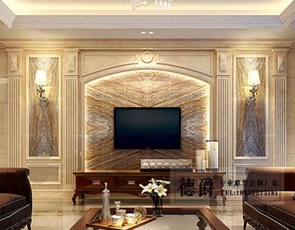 石材罗马柱背景墙 欧式柱子电视墙室内天然石材可