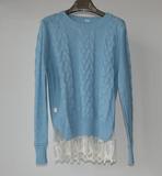 女式圆领长袖带蕾丝下摆修身蓝色毛衣