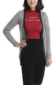 女士针织衫中长款秋冬  学院风针织开衫
