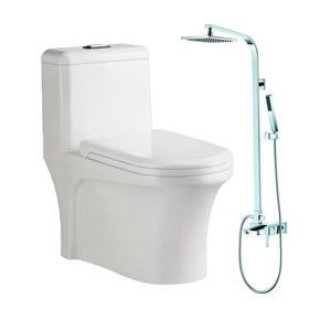 埃美柯双孔超漩节水坐便器+ 全铜顶喷 方管淋浴