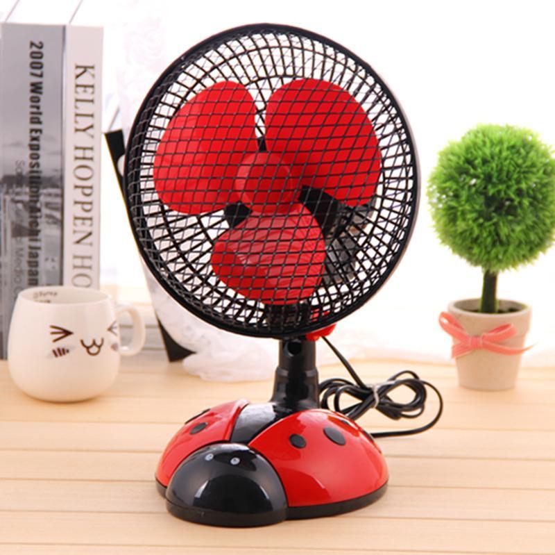 创意甲虫卧室摇头扇桌面电风扇小型台扇转页扇大图一
