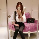 韩版V领雪纺灯笼袖雪纺上衣