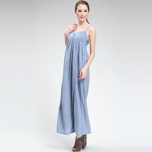 乐都特 女式纽扣领全棉吊带连衣裙