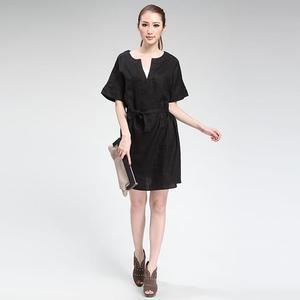 LAREDOUTE 乐都特女式民族风短袖亚麻连衣裙
