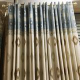 简约现代定制蓝色方块棉麻窗帘成品亚麻布料半遮光布