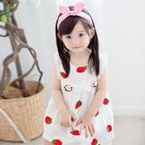 2016夏外贸童装批发女童花边草莓连衣裙
