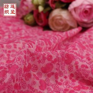红色腰果花印花布 网眼弹力布 女装连衣裙面料