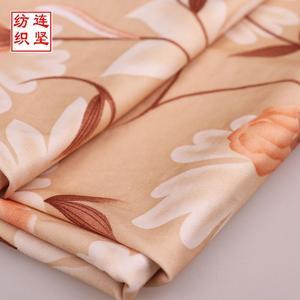 涤氨弹力印花布 小清新植物热转印花布 牛奶丝拉架布