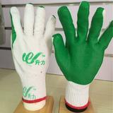 升力绿胶片手套 防护手套 白纱绿胶 劳保 挂胶