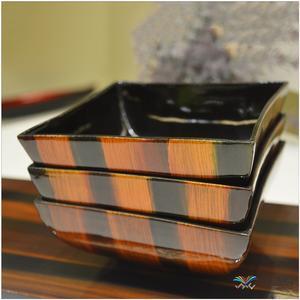 越南 漆器橘色条纹彩绘套装碗1*4  0202210