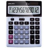 得力(deli)双电源宽屏办公桌面计算器 财务计算机 银灰色1654