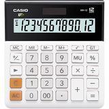卡西欧(CASIO)MH-12-WE 小型 12位 双电源 超宽计算器 白色 专业计算系列