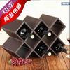 云南香格里拉定制简易8格子皮革红酒架葡萄酒瓶酒柜摆件欧式实木