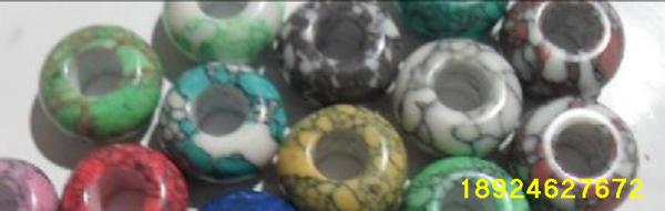 天然松石、宝石半成、松石大孔珠图片二